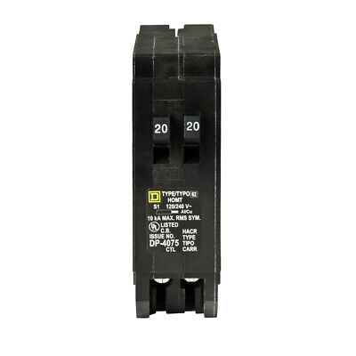 Square D Homeline 20-Amp 1-Pole Tandem Circuit Breaker UL Listed Easy Instal New