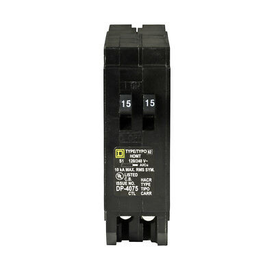 Square D Homeline 15-Amp 1-Pole Tandem Circuit Breaker UL Listed Easy Install