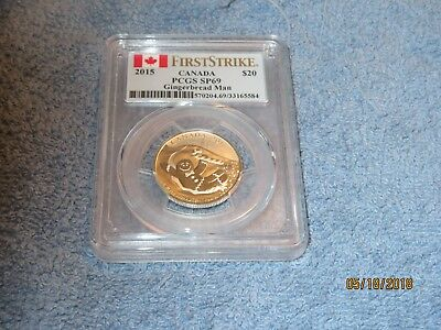2015 $20 Canada Silver Gingerbread Man Pcgs Sp69 First Strike