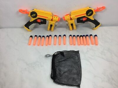Nerf Guns Lot of 2 with 17 darts and mesh carrying bag.