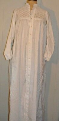 Antique Youth White Cotton Long Sleeve Full Button Front Long Night Gown