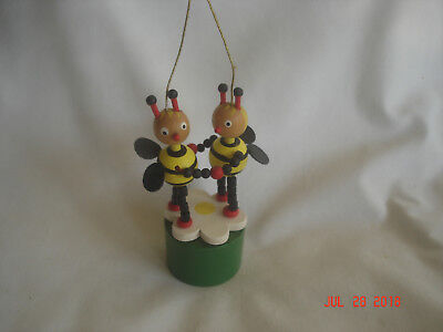 UNUSUAL Vtg. WOODEN PUSH UP BOTTOM DOUBLE BEE w/ faux LEATHER WINGS TOY ORNAMENT