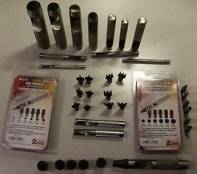 Various hole punches Sets and lacing Chisels Set Maxi Mini Large Leather Working