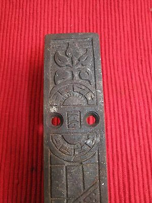 Antique Victorian Cast Iron Door Bolt Window Sash Floor Lock Ornate Tulips