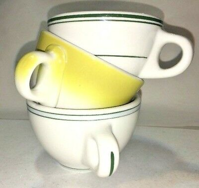 Heavy DINER LOT of 3 Mugs STERLING CHINA VITRIFIED Green Stripes & Yellow White