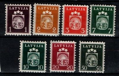 Latvia 1940 Coat of Arms selection 1s to 50s SG 296-98, 300-03, 305 Mint MH