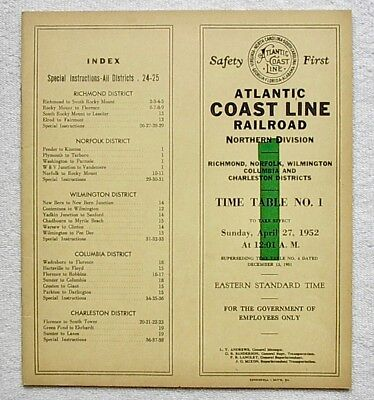 ACL - Atlantic Coast Line Railroad Northern Division TT #1 April 27, 1952