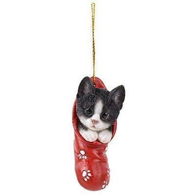 Black and White Kitty Cat Festive Christmas Tree Hanging Ornament Accessory