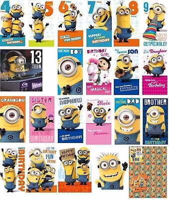 DESPICABLE ME MINIONS Birthday Cards & Gift Wrap Age 4-13 Brother Sister Dad Son
