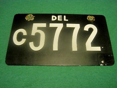 Rare VTG. Aluminum Delaware CORVETTE DEALER License Plate.  Raised Numbers,