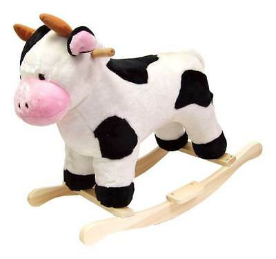 Black & White Plush Rocking Cow w Wooden Rockers [ID 20062]