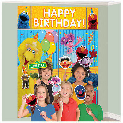 SESAME STREET SCENE SETTER Party Wall Decoration Photo Booth Props ELMO BIG BIRD