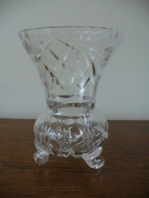 Vintage Bohemia Hand Cut Crystal Tri Footed Vase Rarely Used Excellent Condition