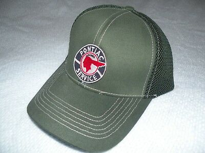 PONTIAC   Chief Emblem on Forest Green flex hat 6 7/8 - 7 3/8