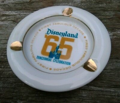 "RARE VINTAGE ""Disney '65""  Disneyland Tencennial Porcelain Ashtray"