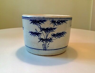 Antique Chinese Blue & White Cache Pot w/ Bamboo Painting - 19th Century