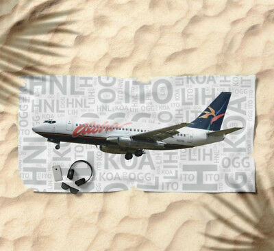 Aloha Airlines Boeing 737 with Airport Codes - Beach Towel