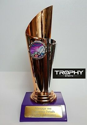 1 X NETBALL TROPHY,195mm High , ROSE GOLD COLOUR, FREE ENGRAVING, (Medal, Award)