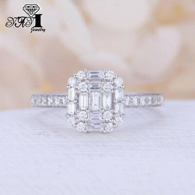 Fashion 925 silver Filled White Sapphire Birthstone Wedding Princesses Band Ring