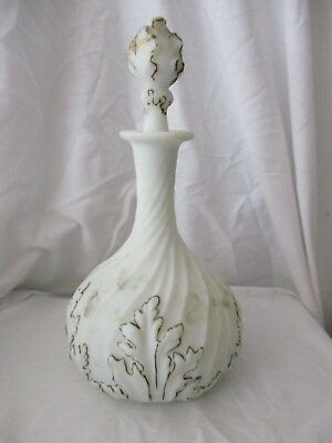 Victorian satin glass decanter acanthus leaves white gold