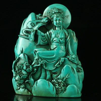 Chinese Turquoise Hand-carved Beauty Statue R4038