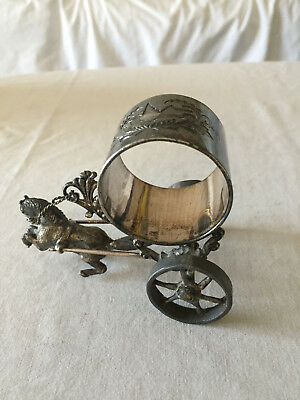 Pair of Antique Silver Napkin Rings Horse and Carriage