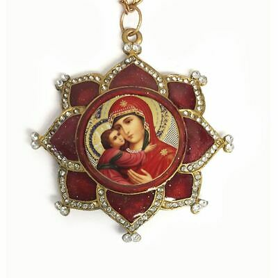 Madonna and Child in Ornate Jeweled Icon Pendant w/ Chain & Bow Antique Finish