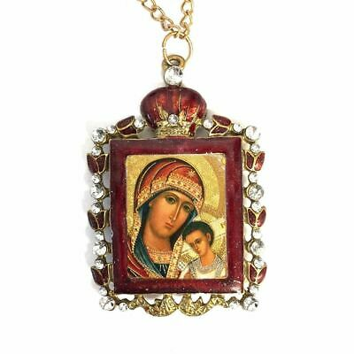Madonna and Child in Ornate Jeweled Icon Pendant w/ Chain Bow Square Shaped