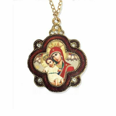 Madonna and Child in Ornate Jeweled Icon Pendant w/ Chain Bow - Antique Finish