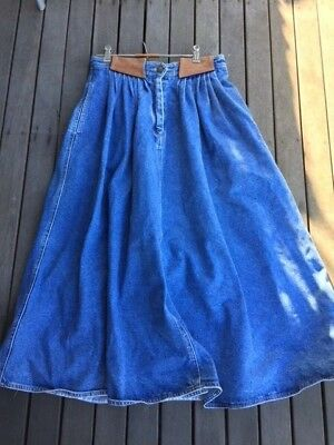Vintage-Country Road Denim Skirt with leather trim-Size 12 - possibly late 80's