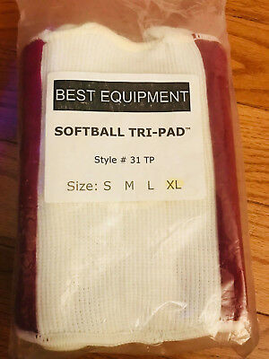 NEW Best Equipment Softball Tri-Pad Sports Red and White Knee Pad Size XL