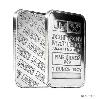 Johnson Matthey 1oz 999 Silver Bar Serial Numbered.