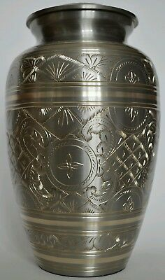 TOP QUALITY BRASS!!  Adult Cremation Urn for Ashes - Bramley Silver and Gold
