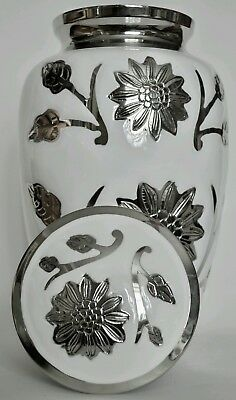 TOP QUALITY BRASS!! Adult Cremation Urn for Ashes - Stunning White Floral design