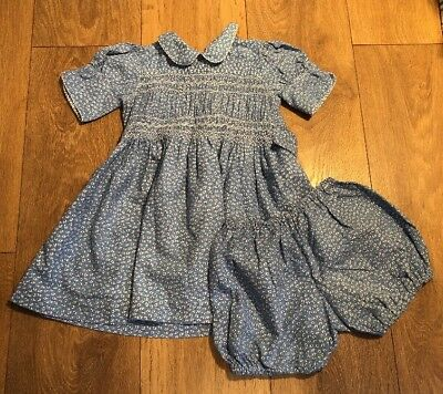Vintage Homemade 50s Child's Blue Girls Smock Dress And Pants Doll
