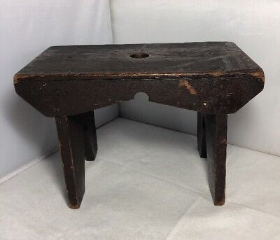 Vintage Old Hand Made Wooden Footstool Work Stall Milking Shabby Rustic