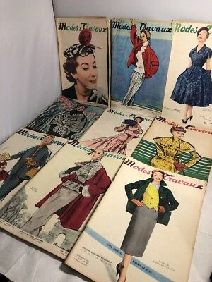 Vintage Lot Of 1950's French Fashion Magazines Modes Travaux 1953 1954 Fantastic