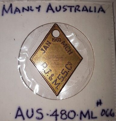 Token 1960 PORT JACKSON and MANLY STEAMSHIP CO LTD MANLY FERRY Australia