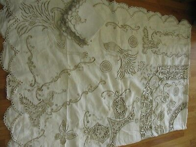 """Antique Madeira Peacocks Embroidered Cutwork Tablecloth 76X132"""" & 12 Napkins!"""