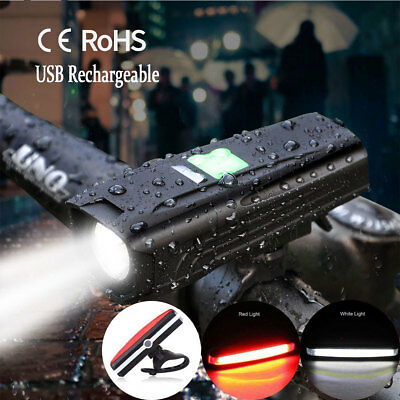 USB Rechargeable LED Bike Bicycle Cycling Front Rear Tail Lights Set Waterproof