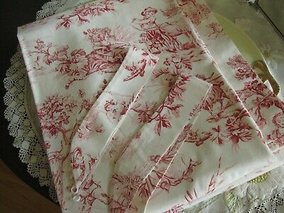 Pair Vintage Heavy Cotton Red/white Scenic Toile Curtains, Tiebacks, Perfect!