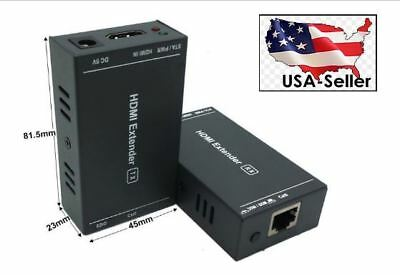 4Pairs 60m//196ft 1080P 3D HDMI Extender Transmitter Receiver over CAT5e//6 USA MX