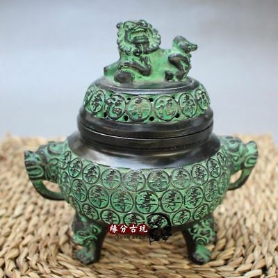 Exquisite Collectible Old Handwork Bronze Lion Incense Burners Fengshui China