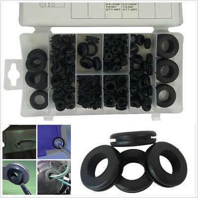 180 Pcs Black Car Off-Road Electrical Wire Cable Rubber Grommet Kits Ring Gasket