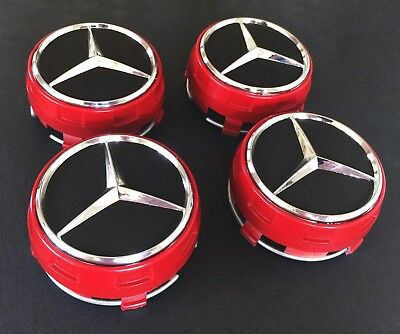 4x RED AMG 75 MM Alloy Wheel Centre Caps for Mercedes- Benz Sport Red