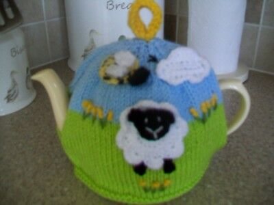 Hand Knitted Sheep Tea  Cosy For A Medium Teapot 3-4 Cup Pot
