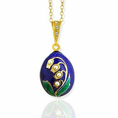 Lilies of the Valley Ornate Jeweled Egg Pendant Sterling Silver Gold Plate 1""