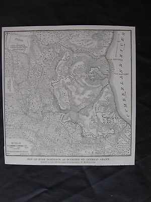 """1894 Civil War Print - """"Map of Fort Donelson, As Invested By General Grant"""""""