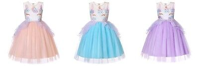 Girls Unicorn Dress Costume Cosplay Party Outfit Fancy Princess Tutu Skirt