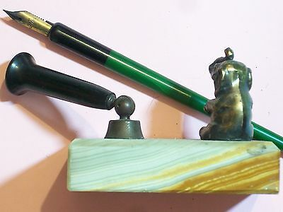 """FOUNTAIN PEN 14KT GOLD PLATE NIB AND BROWN MARBLE BASE 3 ½ x 2 ½"""" x 7/8"""" BRASS E"""